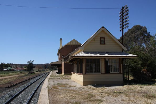 Cootamundra West signal box and station looking up