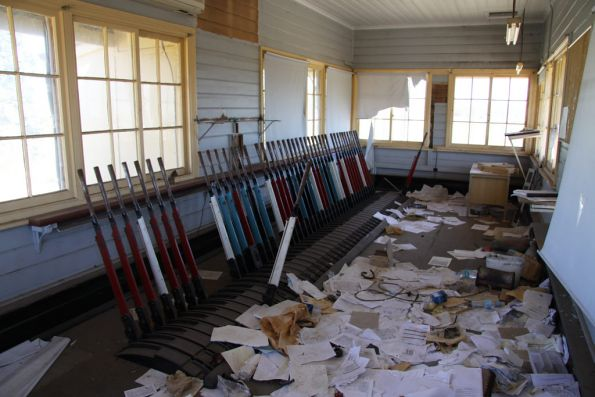 Lever frame and assorted documents in the signal box at Cootamundra West