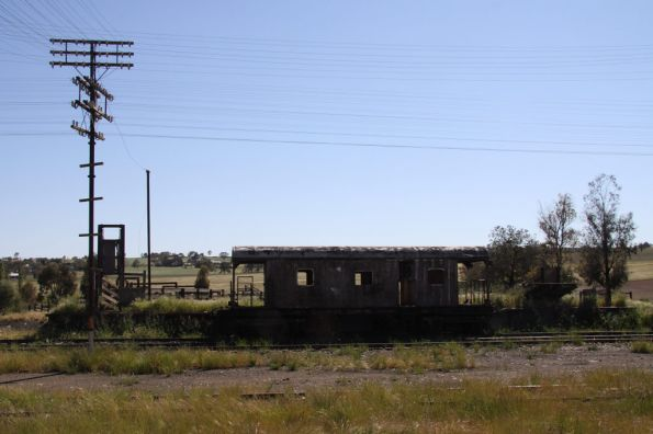 Abandoned JHG guards van beside the cattle yard at Harden