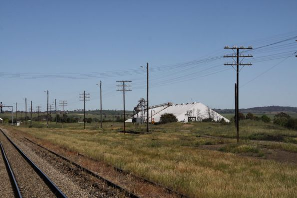 Grain storage in the yard at Harden