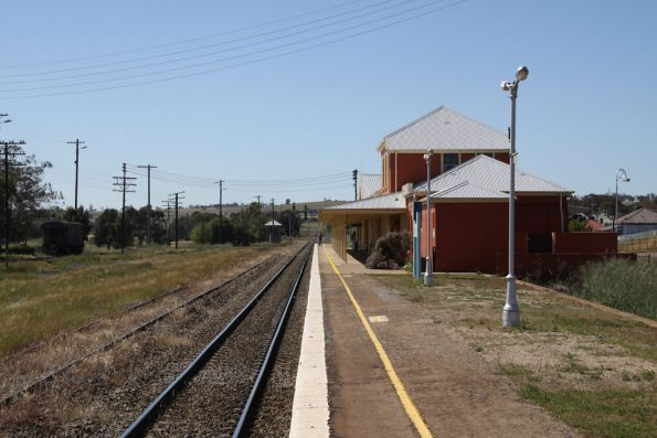 Looking up the platform at Harden
