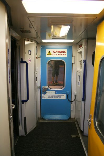 Exterior door opening into the vestibule of a XPT sitting car