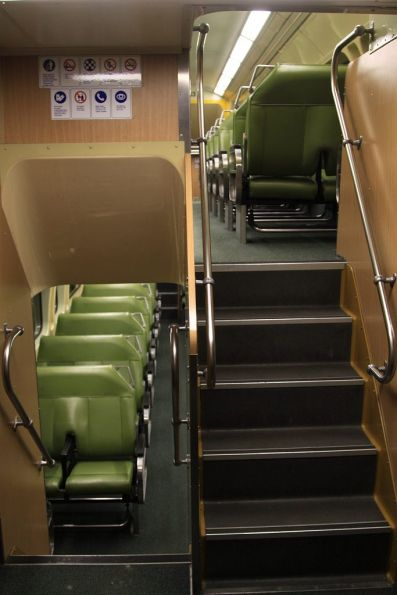 Stairs to the upper and lower decks onboard a V set
