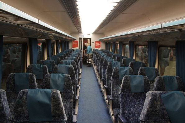 Onboard an economy class XPT sitting car