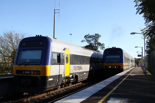 Up and down CityRail services cross at Menangle Park