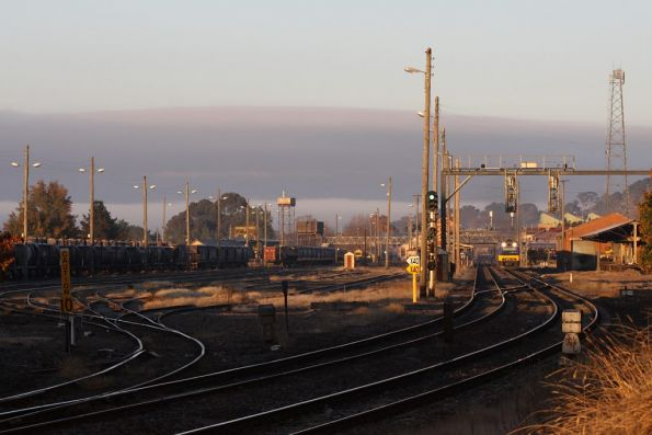 Early morning at Goulburn, as a CityRail Endeavour departs