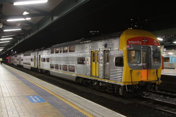 Set V33 at Central Station, in the new NSW TrainLink Intercity livery