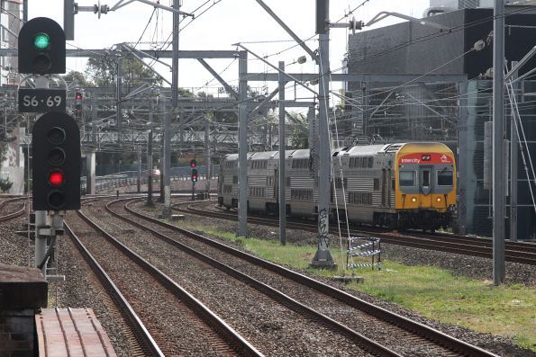 V35 approaches Burwood station with an up service