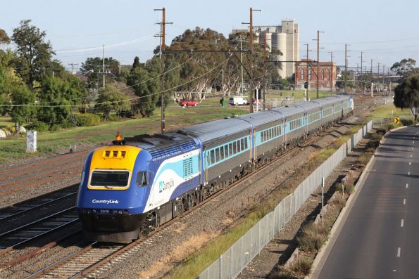 XP2018 trails the northbound XPT headed through Sunshine