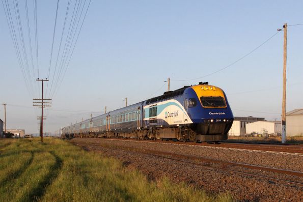 XP2014 leads the Melbourne bound service through McIntyre Loop
