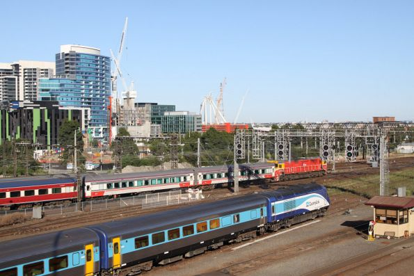 Finally on the move from Southern Cross, the Southern Spirit empty cars having blocked the track out