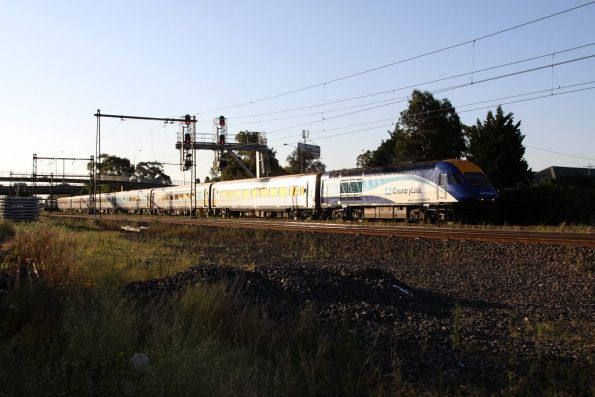 Up XPT passes through Middle Footscray, with the surrounding houses all gone for RRL