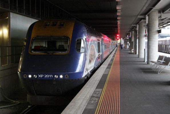 Daylight XPT awaiting departure from Southern Cross, with power car XP2011 in the lead