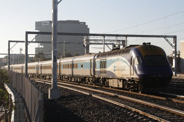 Power car XP2014 trails the Melbourne bound XPT at Middle Footscray