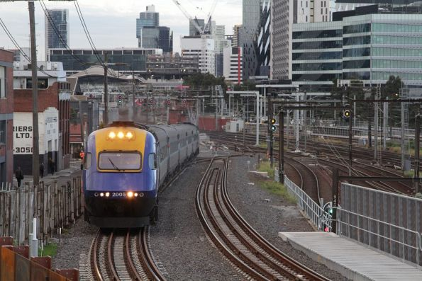 Daytime XPT departs Southern Cross Station bound for Sydney, lead by XP2005
