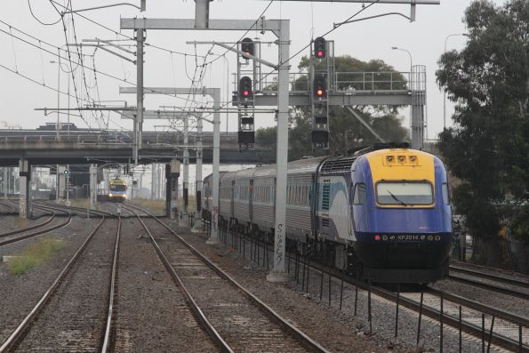 XP2014 trails the Sydney bound XPT at Middle Footscray
