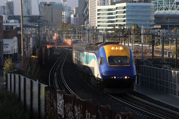 XP2011 leads the northbound XPT over the North Melbourne flyover