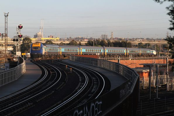 XP2017 trails the northbound XPT over the North Melbourne flyover