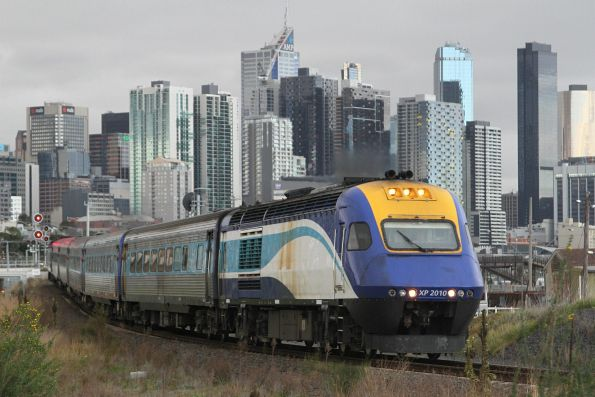 Northbound XPT departs Melbourne, power car XP2010 in the lead