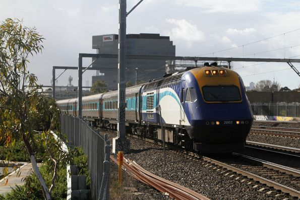 Northbound XPT led by power car XP2003 through Middle Footscray