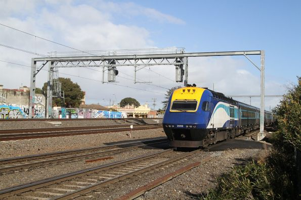Northbound XPT trailed by power car XP2008 through Middle Footscray
