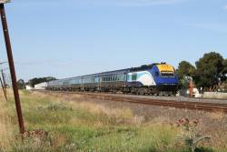 Southbound XPT at Albion with power car XP2010 in the lead