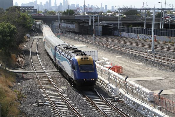Northbound XPT led by power car XP2012 through West Footscray