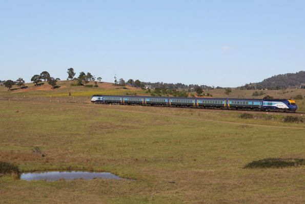 Southbound XPT outside Menangle passes through the countryside