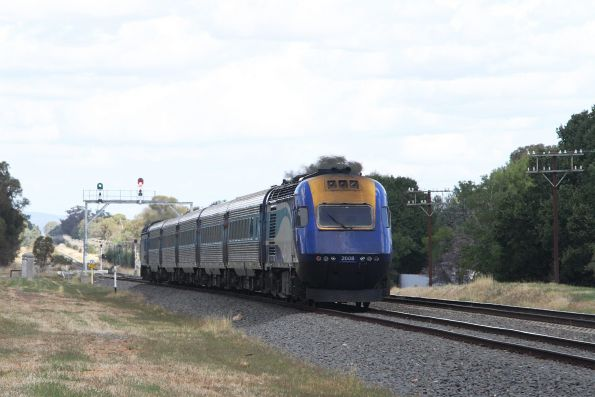 Melbourne bound XPT departs Henty, with power car XP2008 at the rear