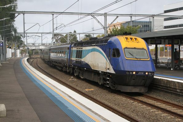 XP2018 leads a westbound XPT through Burwood station