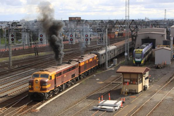 4490 does the usual Alco exhaust trick on arrival at Southern Cross