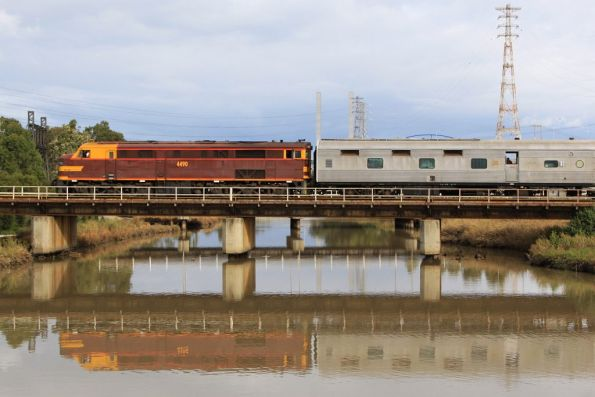 Tail end of the empty car move, with 4490 at Moonee Ponds Creek