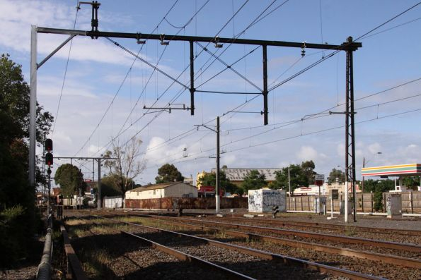Merz stanchion at Newport recently modified to be further away from the tracks
