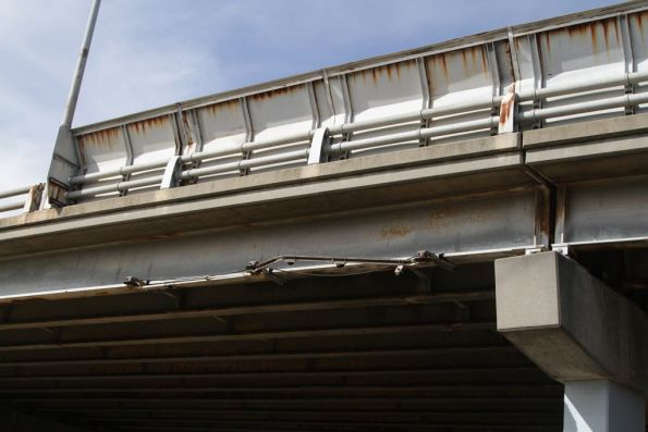 Remains of the overhead wire supports beneath the Graham Street bridge in Port Melbourne