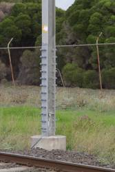 Additional bracing fitted to a 1980s-era stanchion on the Altona line