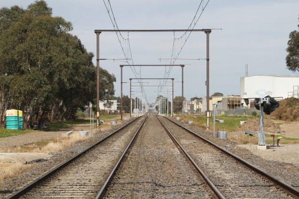 Original 1950s overhead wiring on the Pakenham line at South Gippsland Highway in Dandenong South
