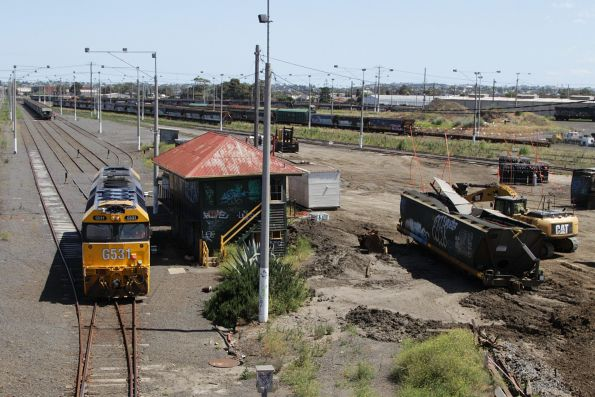 With the wagons shunted into the departure roads at North Geelong Yard, G531 runs around the train