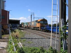 NR54 and NR108 on an up steel train at Newport