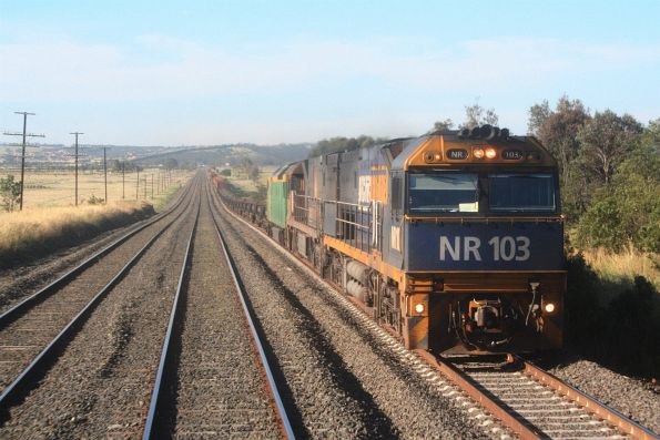 NR103 leads NR92 and AN7 on an up steel train near Donnybrook