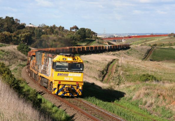NR16 leads NR5 westbound with MP2 down steel train at Moorabool