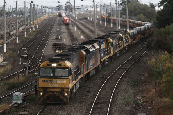 NR99, AN8, NR1, NR107 and NR115 with up steel train 6WP2 at West Footscray