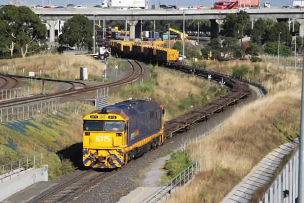 8115 shunts standard gauge container and steel wagons at the city end of the Melbourne Freight Terminal