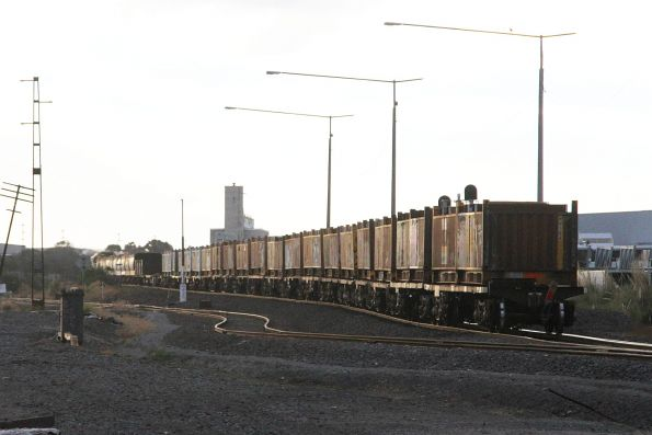 'Butterbox' steel containers at the tail end of XM4 up steel train at Brooklyn