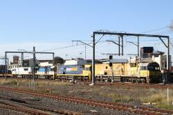 Indian Pacific liveried NR18 leads NR24, LDP003 and LDP006 on WM2 steel train