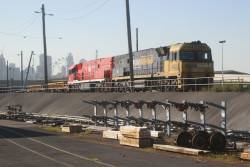 NR24 and The Ghan liveried NR18 ready to depart the Melbourne Operations Terminal