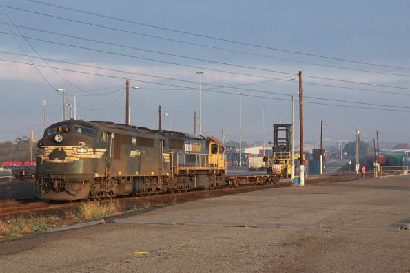 A85 and XR557 set back with a single empty VQDW wagon