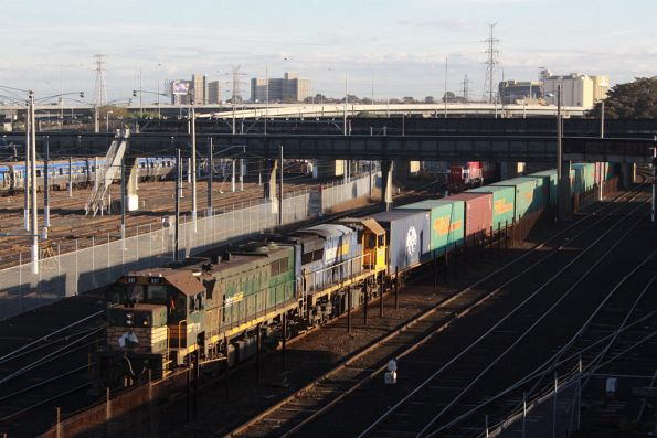 X37 leads XR557 at Melbourne Yard, waiting it out for a path after the morning peak is over