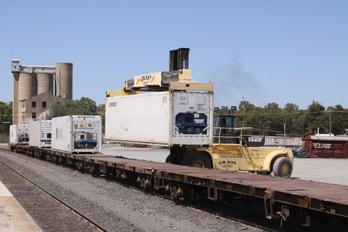 Unloading containers from the train at Tocumwal