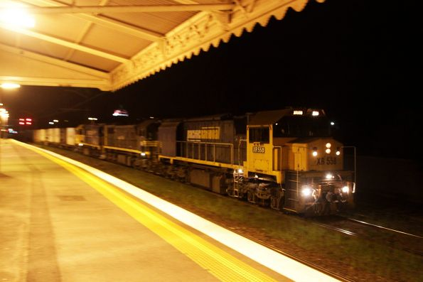 XR558, X39 and XR555 lead the up Tocumwal freight through Middle Footscray station