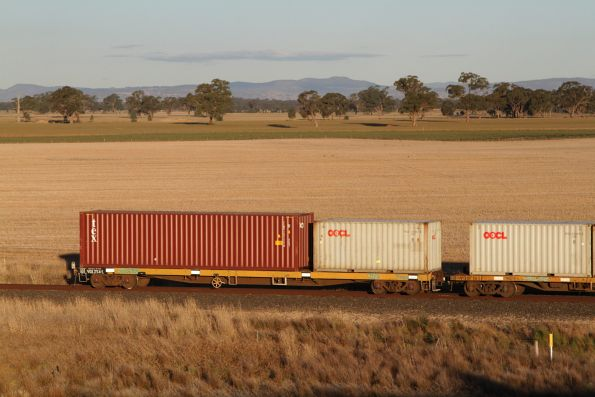 Tail end of the up Tocumwal freight about to pass under the new Nagambie Bypass
